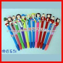 fashion Christmas couple cartoon polymer clay ball pen