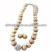 Fashion handmade brown Glass pearl bead necklace with crystal ball