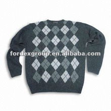 Men's Intarsia Pullover with Long-sleeve, Made of 100% Lambs Wool