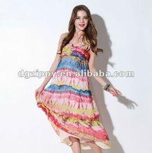 2012 newest rainbow beach long skirt/long chiffon dress