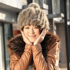 fashion winter beanie fur hat with pom