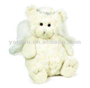 Branco bonito ursinho de pelúcia anjo brinquedos com asas