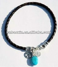 Fashion woven bracelet with hand charm