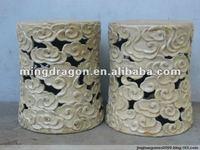 chinese antique white porcelain garden drum stool