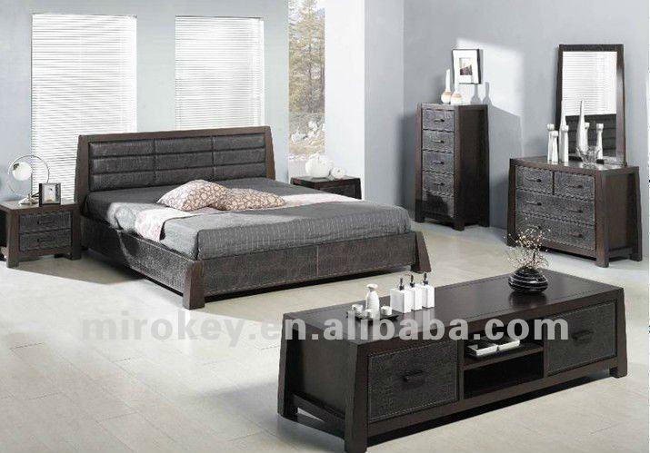 De roble y mdf muebles de dormitorio moderno conjunto (872)