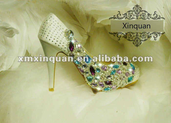 2012 new style spring women sexy white diamond high heels wedding shoe