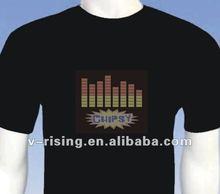 2012 hot sells 100% cotton el flashing t-shirt