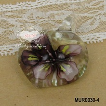 Clear Italian Heart Glass Pendant With Brown Flower Inner