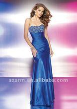 2012 New Design Hot Sale Taffeta Sleeveless Pleats Beaded Prom Dress