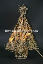 Gold rattan christmas tree with lights