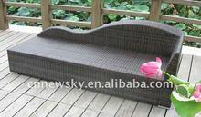 Outdoor garden furniture garden pe wicker sun lounger