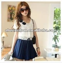 2012 fashion color matching accept waist pressure plait chiffon dress