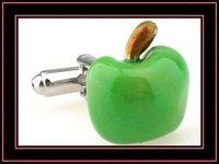 Novelty green apple shaped enamel cufflinks