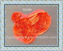 CX Orange Red chiffon flower motif