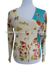2012 SLYS new white fashion printed women cardigan
