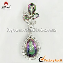 Fashionable 925 Silver Pendant with Beautiful Mystic Topaz for Mother's Day