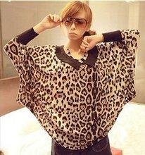 2012 fashion plus size women clothing.women loose leopard shirt