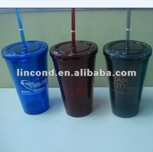 nice sharp and healthy plastic double wall cups/glasses with straw and lids made of ps