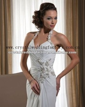 2012 sweetheart halter appliqued ruched chiffon custom-made bridal wedding gowns CWFaw4156