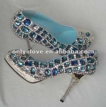 BS335 fashion 2012 custom make blue crystals wedding shoes rhinestones bridal shoes