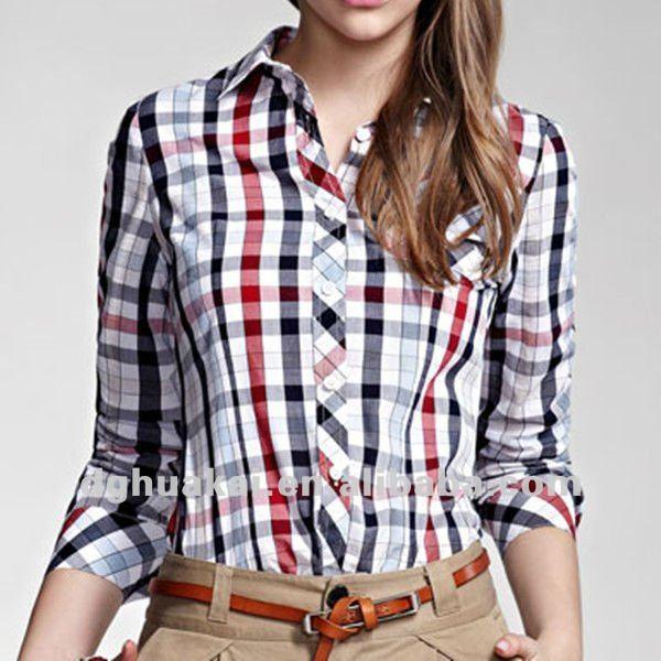women casual long sleeve plaid shirt fit Áo sơ mi nữ đẹp, nhiều kiểu dáng