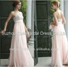 Strapless beaded pink chiffon Formal Prom Dress