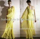 New fashion one shoulder yellow chiffon beaded evening dress,girls party dress