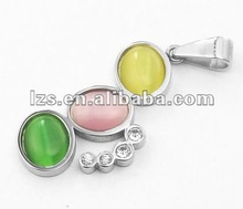2012 Newest Stainless Steel Pendant with Opal and Crystal 0180