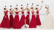 2012 red long chiffon custom-made bridesmaid dresses CWFab4161