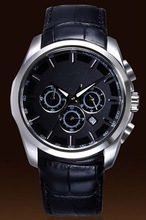 2012 hot fashion chronograph leather band men watch