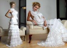 2012 unique appliqued beaded ruffled halter custom-made bridal wedding gowns CWFaw4169