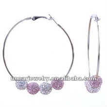 White And Pink Basketball Wives Hoop Earrings With Rhinestone Crystal Bead Ball