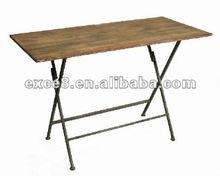 110816MC-7 Garden furniture rectangle metal table w/fir wood board