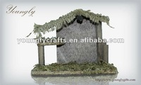 Polyresin wooden house for Nativity Set