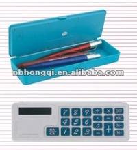 Plastic Pencil Case with Calculator on cover, Pencil case calculator