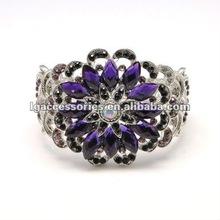 Africa Style Bangles Dark Purple Rhinestone Flower Bangle Big Flower Bracelet