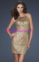Hot Sale Sexy Sleeveless Sequins Short Mini Golden Plus Size Cocktail Party Dresses 2012