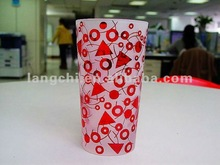 matt glass vase with decal red pattern