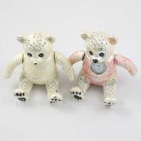 Fashion Metal Alloy Teddy Bear trinket box with rhinestone JB30955
