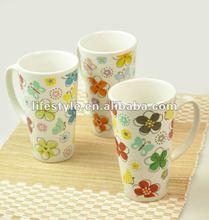 16oz V shape Coffee Mug, Flower Cup, Stoneware with Logo