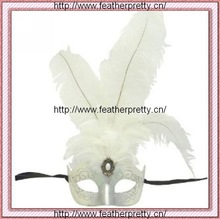 Venetian Mask-White and silver Princess feathered venetian mask