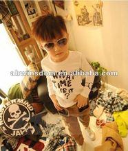 2012 fashion watch picture pure cotton children's T-shirt