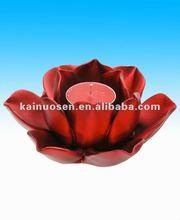 Fashional red ceramic lotus candle holder,lotus candle