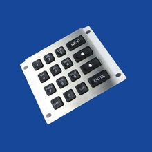 Stainless steel numeric keypad , Panel mount keypad with 16 back-lit keys