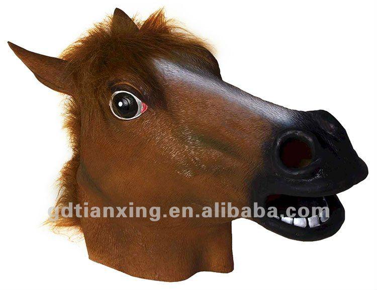 Parte máscara de la cara, cabeza de caballo máscara, de látex de ...