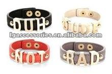 2012 new fashion trend leather bangles bracelet, customise letters charm wrist