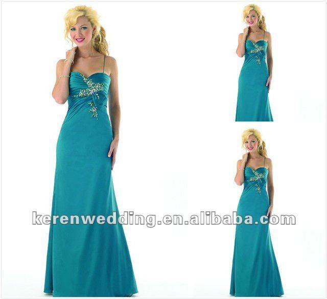 cinta spaghetti esmeralda verde vestido de noite
