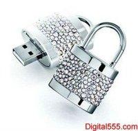 Bling Jewelry Diamante Diamond lock shape USB Flash Drive with Crystal, Rhinestone, Necklace