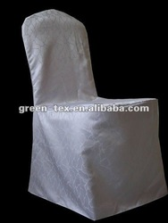 White jacquard chair cover for wedding/banquet chair cover