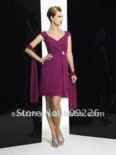 Cap sleeves Sweetheart Neckline with V-back Chiffon Short Knee Length Drop Waist A-line Oscar Dress 2012